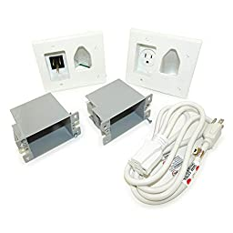 Datacomm 45-0023-WH Recessed Pro-Power Kit with Straight Blade Inlet - White