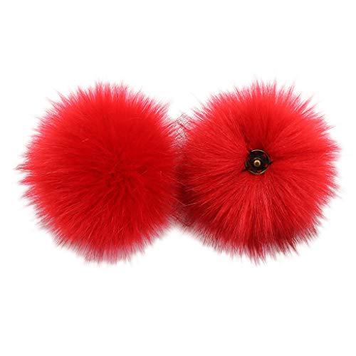 RingBuu 1Pc, Fluffy Pom Pom Ball - with Removable Brooch Pins Buckle Knitting Hat Accessories for Woolen Knit Ball Imitation Fox Ball Fashion Hat Ball Cuffed Beanie Ski Winter Cap