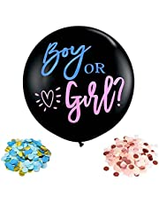 36 inch boy or girl baby gender reveal with blue and pink confetti round black latex balloon