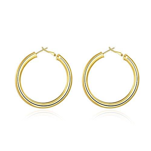 Medium 5mm Earrings Hoop (BODYA 50MM Yellow Gold Plated large round circle 5MM wide Smooth Hoop Earrings hyperbolic woman's)