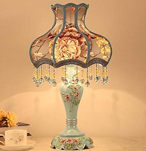 Best to Buy Tiffany Style Dimmable Table Lamp Victorian Jeweled Desk Lamp Floral Cloth Art+Resin (Blue) ()