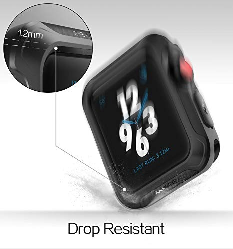 V85 Compatible Apple Watch Case 42mm, Shock-proof and Shatter-resistant Protector Bumper iwatch Case Compatible Apple Watch Series 3, Series 2, Series 1, Nike+,Sport, Edition Black by V85 (Image #2)