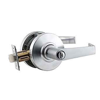 Schlage commercial AL53SAT626 AL Series Grade 2 Cylindrical Lock Saturn Lever Design Entry Function Turn//Push Button Locking Satin Chrome Finish