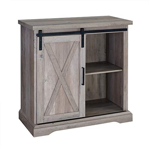 Pemberly Row 32'' Sliding Door TV Stand Console in Rustic Gray Barnwood by Pemberly Row