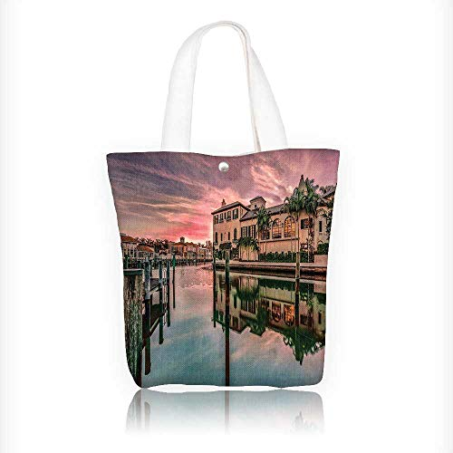 Canvas Tote Bag Colorful Sunrise Over Venetian Bay At Naples Florida Apartments Trees Waterscape Purple Green Hanbag Women Shoulder Bag Fashion Tote Bag W16.5xH14xD7 INCH
