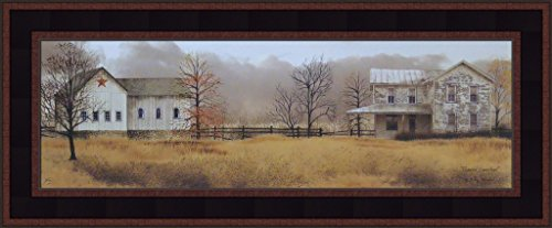 Peaceful Homestead by Billy Jacobs 9x21 Farm Barn Farmhouse Weathered House Primitive Folk Art Print Framed Picture