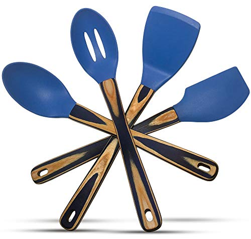 Silicone Spatulas and Cooking Spoons, Kitchen Utensils Gift Box Set of 4 with Pakkawood Handles in Blue Dazzle/Navy Blue - Kitchen Tools and Gadgets by Kitchen Charisma (Blue Silicone Kitchen Utensils)