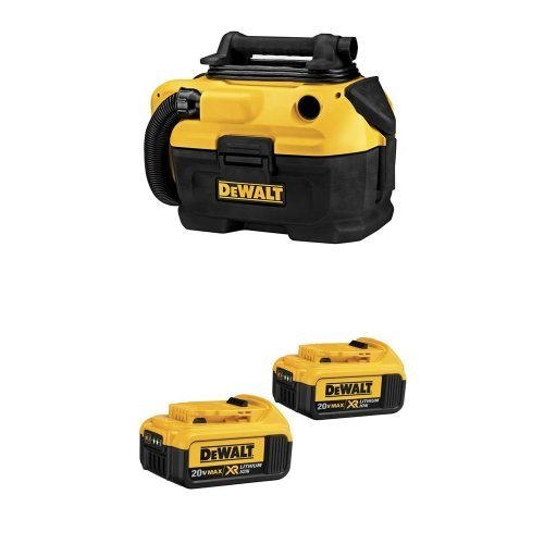 DEWALT DCV581H 18/20-Volt MAX Cordless/Corded Wet-Dry Vacuum w/ DCB204-2 20V Max Premium XR Li-Ion Battery, 2-Pack