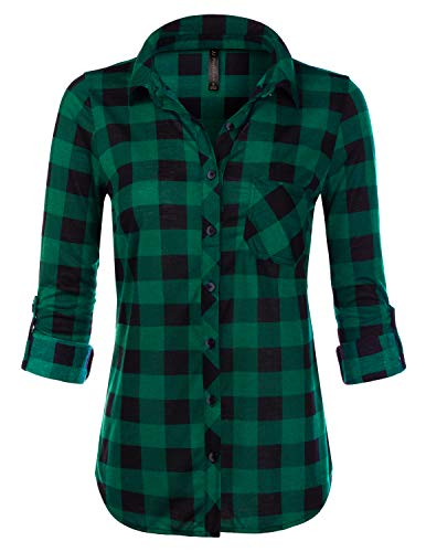 JJ Perfection Womens Long Sleeve Collared Button Down Plaid Flannel Shirt? Greenblack 1X ()