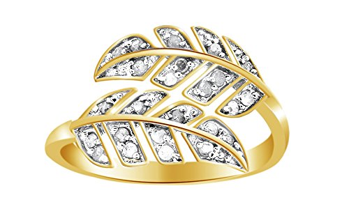 Jewel Zone US 14k Gold Over Sterling Silver White Natural Diamond Bypass Leaf Ring (0.25 Ct)