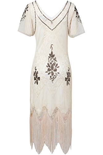 BABEYOND 1920s Art Deco Fringed Sequin Dress Roaring 20s Flapper Fancy Dress Gatsby Costume Dress Vintage Beaded Evening Dress (White, Large)