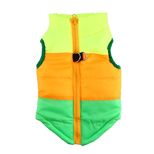 Idepet TM Pet Dog Cat Coat with Leash Anchor Color Patchwork Padded Puppy Vest Teddy Jacket Chihuahua Costumes Pug Clothes XS S M L (S, Green)]()