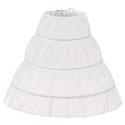 (XYDS Girls' 3 Hoops Petticoat Full Slip Flower Girl Crinoline Skirt (White, Small))