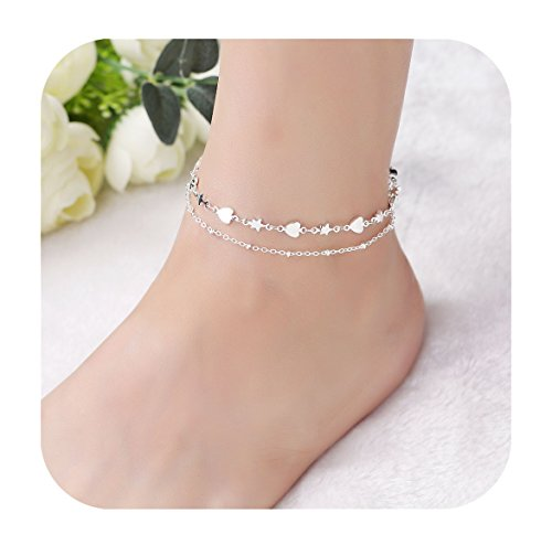 Eoumy Boho Multi Chain Anklet Handmade Silver Heart Star Chain Anklet Beach Foot Chain Jewelry For ()