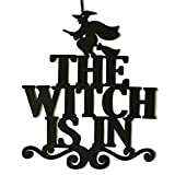 Yoyorule The Witch is in Halloween Hanging Sign Door Hanging Halloween Decoration