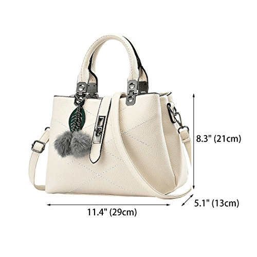 Bags Crossbody Bag and Top Shoulder Totes Satchel PU Purses white Handbags Women's Off Handle Leather z4xTtwqxv
