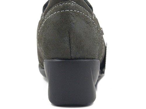 Osvaldo Pericoli Adriana Del Nista, Chaussure À Talons Hauts En Daim Gris, Semelle 4cm. 1112g I17
