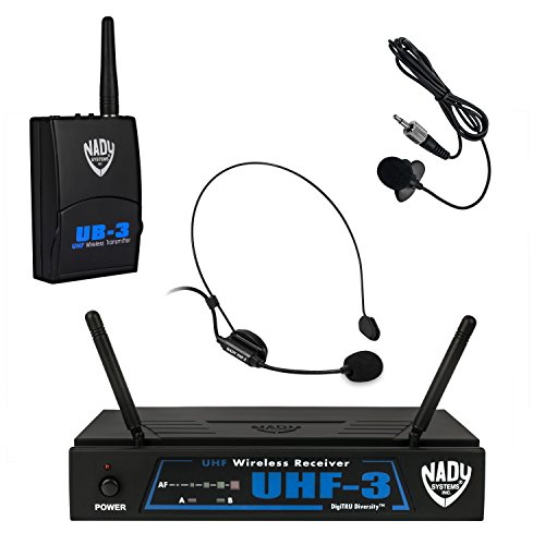 Headset Dual Nady - Nady UHF-3 Wireless Headset + Lapel/Lavaliere Microphone System with True Diversity - 2 Microphone Bundle (HM-3 + LM-14) Use The Microphone Best Suited To Your Application