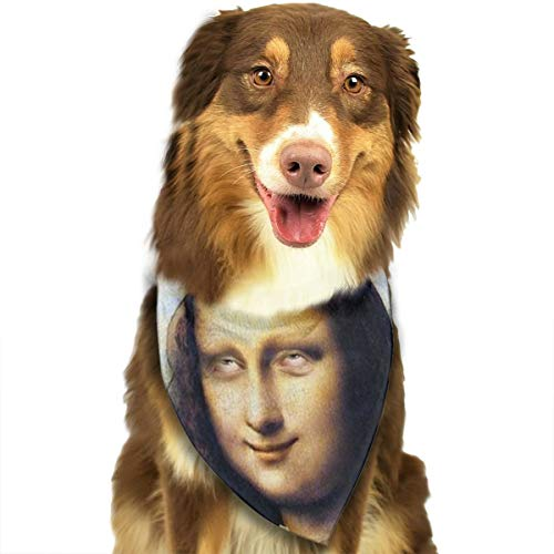 Dog Bandana Mona Lisa Holding Cannabis Leaf Triangle Bibs Scarf Printing Kerchief Set Accessories Dogs Cats Pets ()