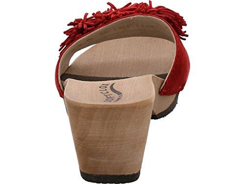 Softclox S3381-03 - Zuecos de Piel para mujer Rojo