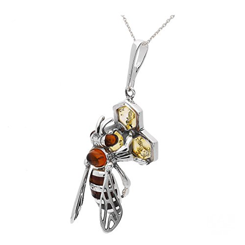 BALTIC AMBER GEMSTONE & STERLING SILVER 925 JEWELRY PENDANT BEE KAB-276