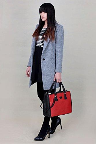 ANNA GRACE - Bolso mochila  de piel sintética para mujer Design 1 - Black/Red