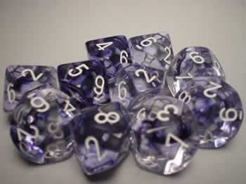 Black with White Numbers Polyhedral 7-Die Nebula Chessex Dice Set
