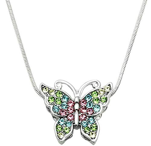 (Glamour Girl Gifts Small Silver Tone Crystal Butterfly Pendant Necklace - Choose Pink, Purple, Teal Multicolor (Pink, Blue, Green, Multi))