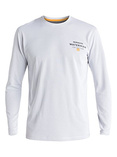 White Rash Vest (Quiksilver Mens Waterman Water Marked - Long Sleeve Rash Vest Rashguard White Xxxl)