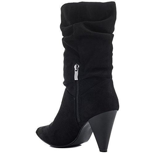 Zapatos Mujer Spylovebuy Camperas Bajas Sintética Bloque Tacón Gamuza Botes Boaspy Negro a7pqwCZ