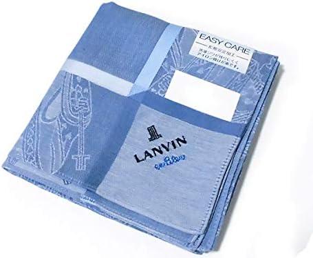 送料180円[11]*ハンカチ ランバン オン ブルー[LANVIN en Bleu] プリント柄 ブルー 形態安定加工 綿100% 日本製 48cm メンズ