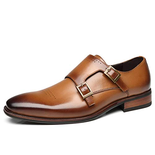 Faranzi Mens Double Monk Strap Oxford Buckle Slip-on Loafer Comfortable Classic Formal Business Dress -