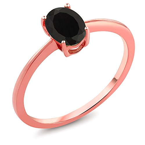 0.80 Ct Oval Black Onyx 10K Rose Gold Ring - Onyx Rose Ring