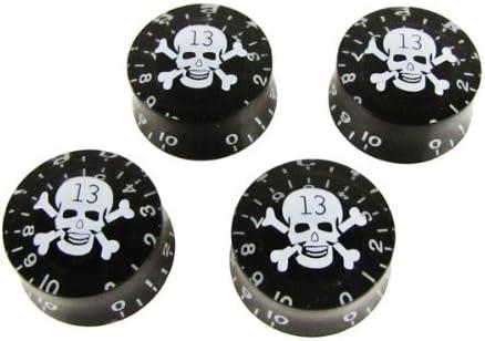 Musiclily Métrica 6mm Perillas de velocidad Botones de Potenciómetros para Guitarra Estilo Single Cut, Negro con Blanco Calavera(4 Piezas)