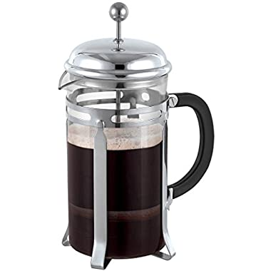 Triple Filter 8 Cup French Press in Chrome 34 Oz