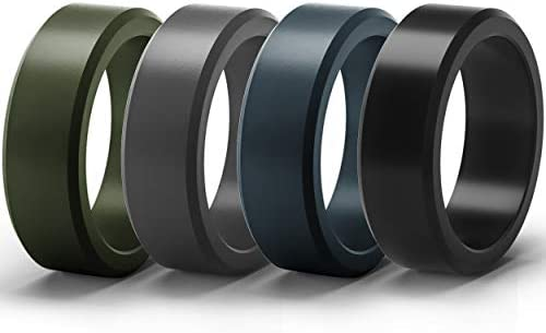 1 Ring ThunderFit Silicone Rings for Men 4 Pack Flat Top Angled Edge Rubber Wedding Bands 8.9mm Wide