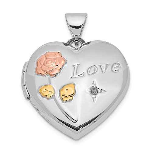 Sterling Silver Diamond Rose and Yellow Rhod Love 19mm Heart Locket ()