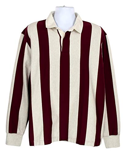 (J Crew Men's 1984 Rugby Shirt Charles Vertical Stripe Burgundy/Gray L K4867)