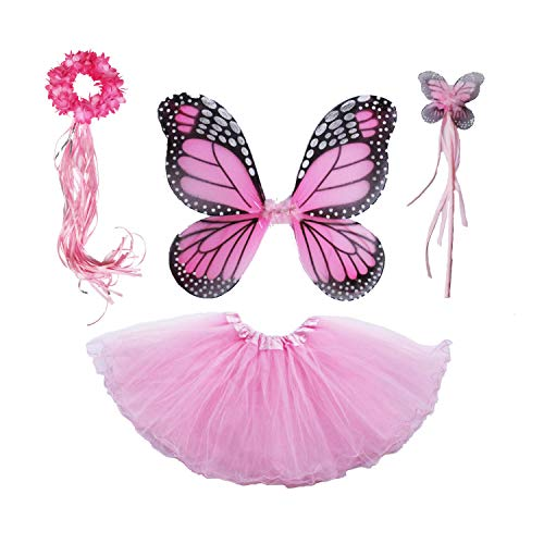 4 PC Girls Fairy Princess Costume Set with Wings, Tutu, Wand & Halo (Light Pink)