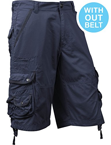 SM Mens Premium Cargo Shorts Without Belt (38, sm01_Navy) ()