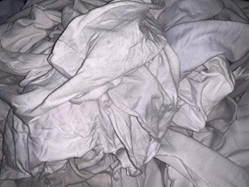 Lint Free White Knit Cotton Rags-Painter-Stainer-Oil-Dirt-All-Purpose Rags- Reclaimed T-Shirt Material 50 Pounds Box