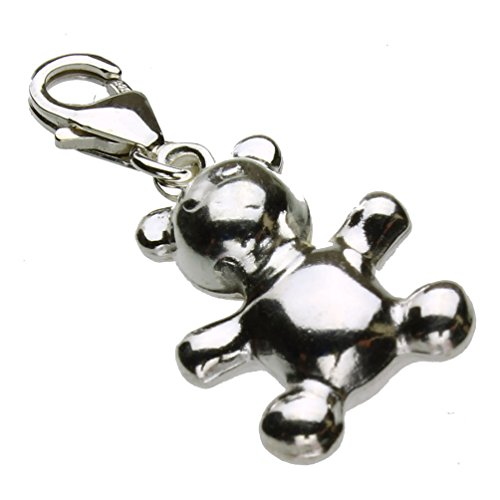 Sterling Silver Teddy Bear Lobster Clasp Clip-On Dangle Charm