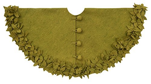 Arcadia Home TF305 Overlapping Flowers Christmas Tree Skirt, Green by Arcadia Home (Image #1)