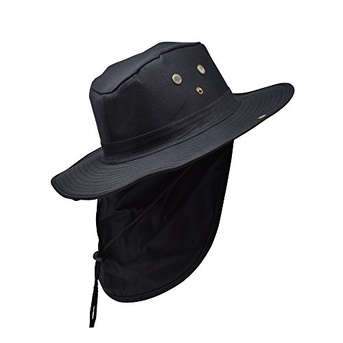 Delano Unisex Boonie Sun Hat w/Neck Flap & Sun Protection. Wide Brim Summer Hat. Outdoor Adventures, Fishing, Hunting, Hiking & Camping Sun Hat (Many Colors) Black Flap Hat
