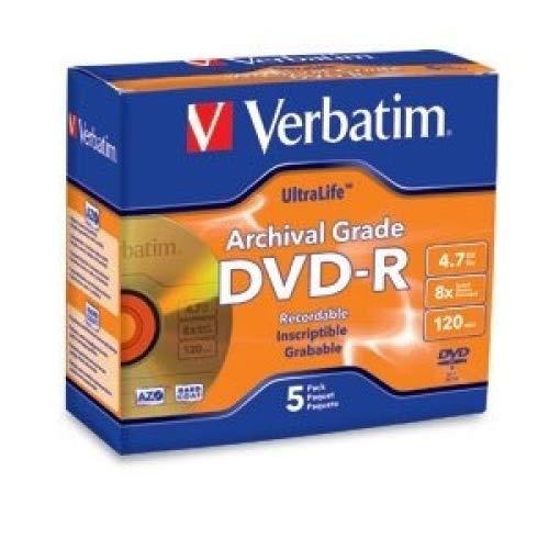 5pk Dvd-R 8x Ultralife Archival Grade Gold Shiny Jewel Case