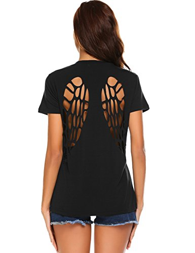 Wildtrest Women's Angel Wing Shirts Hollow Out Back Tunic Short Sleeve Blouse Top Black XX-Large
