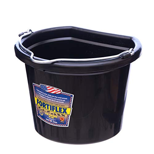 Fortiflex Flat Back Feed Bucket for Dogs/Cats and Small Animals, 8-Quart, Black