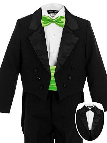 Bello Giovane Boys Black Penguin Tuxedo with Colored Cummerbund 7 Piece Set (10, Apple Green)