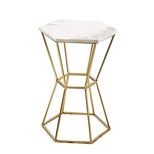 ZHIRONG Side Table Living Room Marble + Wrought Iron Telephone Table Corner Table Coffee Table Bedroom Bedside Table Leisure Table,Gold,14.9''x21.6'' (Iron Wrought Table Telephone)