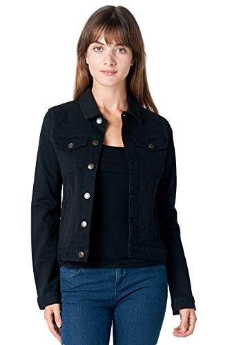 Jacket Edge Denim - Blue Age Women's Colored Denim Jean Jacket Solid Black (JK4017_BLK_M)